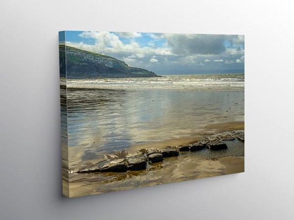 Dunraven Bay Receding Tide, Canvas Print
