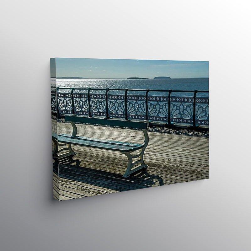 Bench on Penarth Pier, Canvas Print