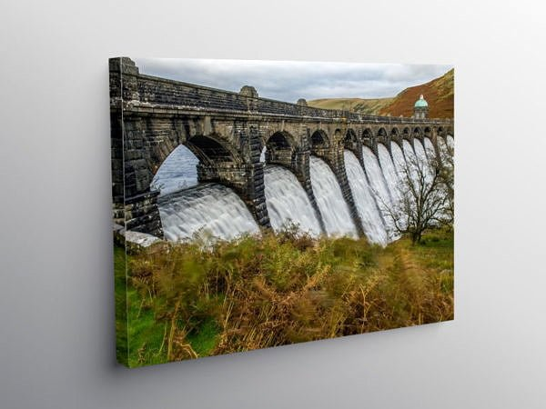 Craig Goch Dam Elan Valley with Water cascading over it, Canvas Print