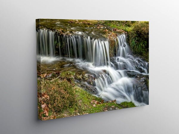 Waterfall at Garreg Ddu Reservoir Elan Valley, Canvas Print