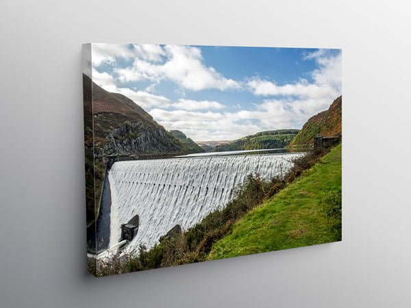 Caban Coch Dam with Cascading Water Elan Valley, Canvas Print