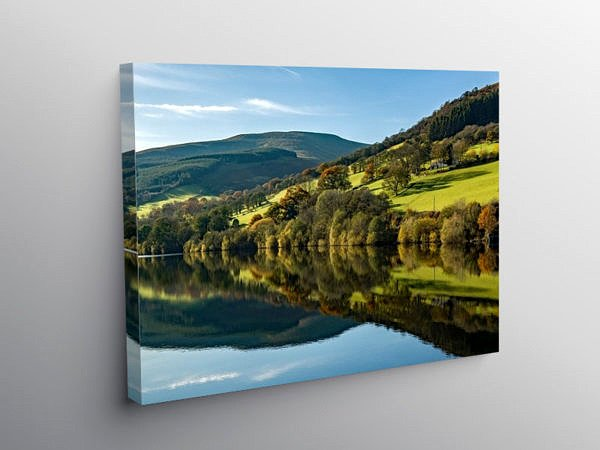 Reflections on Talybont Reservoir, Canvas Print