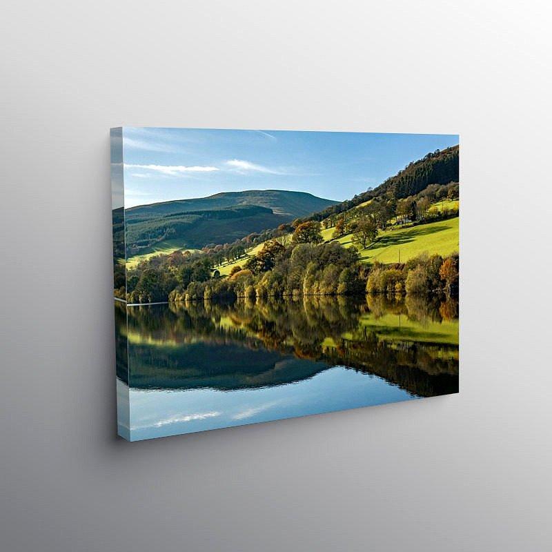 Reflections on Talybont Reservoir, Canvas Print