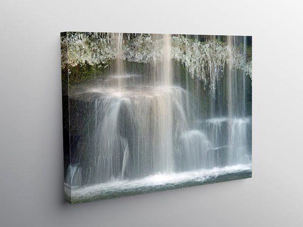 The Upper Ddwli Falls in Winter River Neath, Canvas Print
