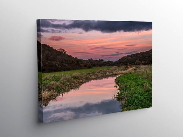 Colhuw River Llantwit Major at Sunset, Canvas Print