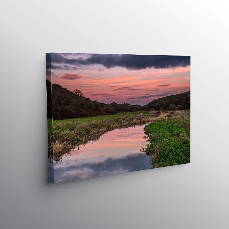 Colhuw River Llantwit Major at Sunset, Canvas Print