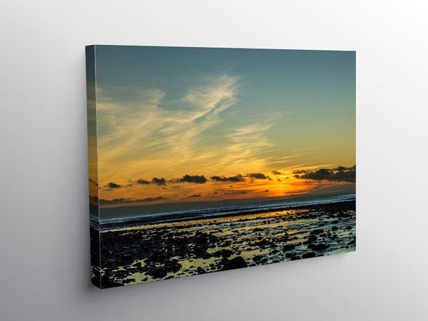Sunset Over Llantwit Major Beach, Canvas Print