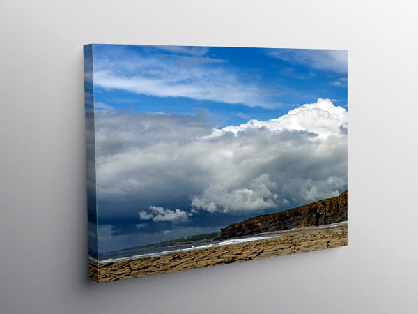 Dramatic Clouds over Nash Point Beach Glamorgan Coast, Canvas Print
