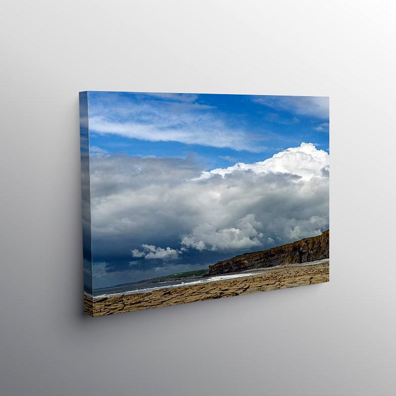 Dramatic Clouds over Nash Point Beach Glamorgan Coast, Canvas Print