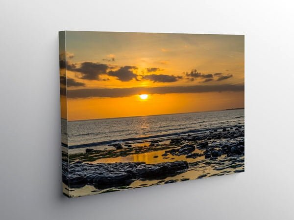 Sunset at Cwm Nash Beach, Canvas Print