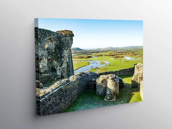 The Tywi Valley from Dryslwyn Castle Carmarthenshire, Canvas Print