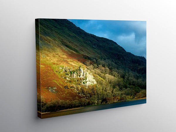 Llyn Gwynant Shadow and Light, Canvas Print