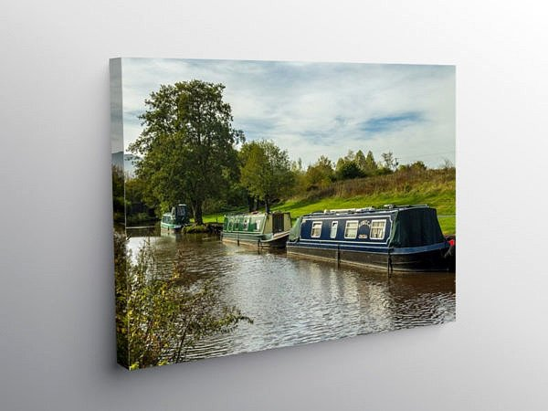 Narrowboats Canal at Pencelli Brecon Beacons, Canvas Print