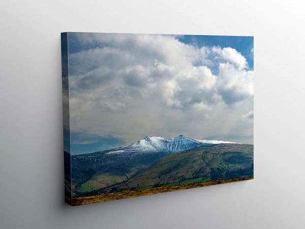 Pen y Fan and Corn Du Winter Snow, Canvas Print