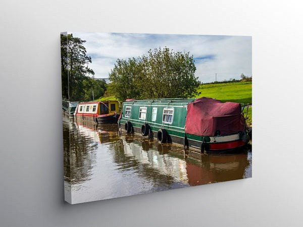Narrowboats Moored on the BrecMon Canal, Canvas Print