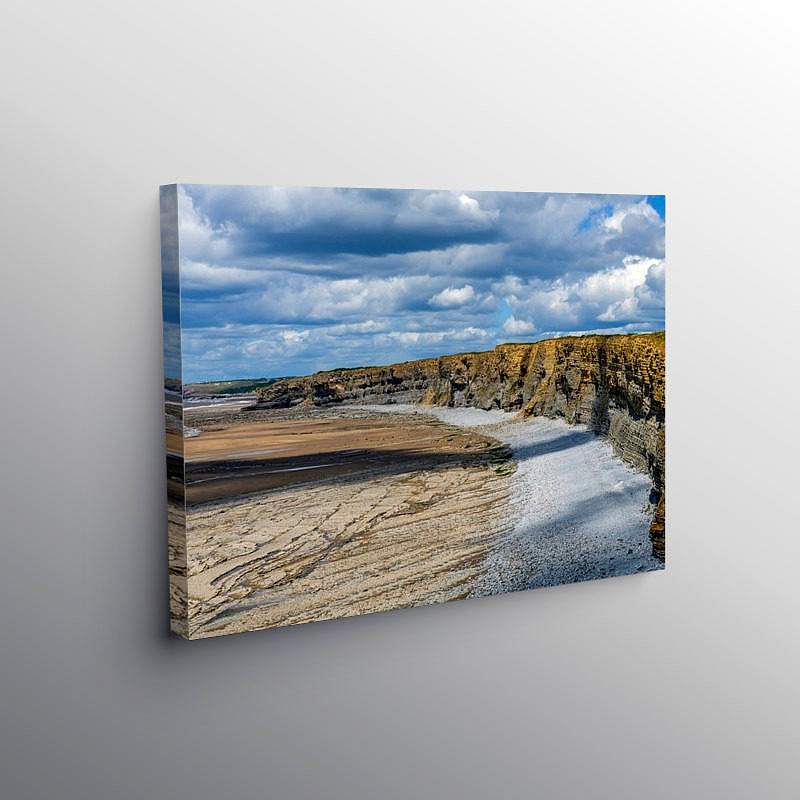 Cliffs at Nash Point looking west, Canvas Print