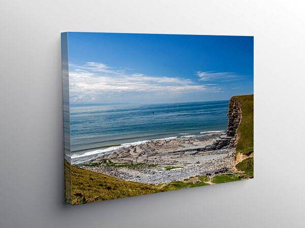Nash Point Beach Glamorgan Heritage Coast View, Canvas Print
