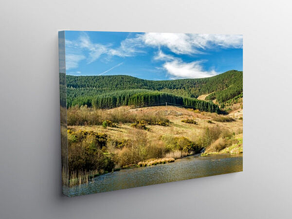 Lake and Nature Reserve Garw Valley Blaengarw, Canvas Print