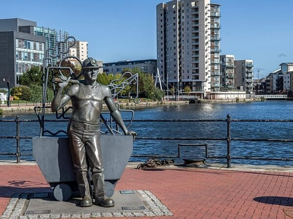Statue of Welsh Coal Miner Cardiff Bay