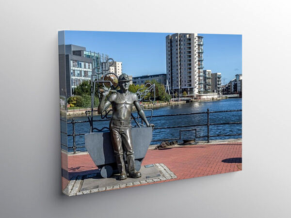 Statue of Welsh Coal Miner Cardiff Bay, Canvas Print