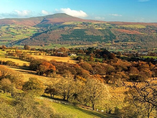 Across to the Sugarloaf from Llangattock Escarpment