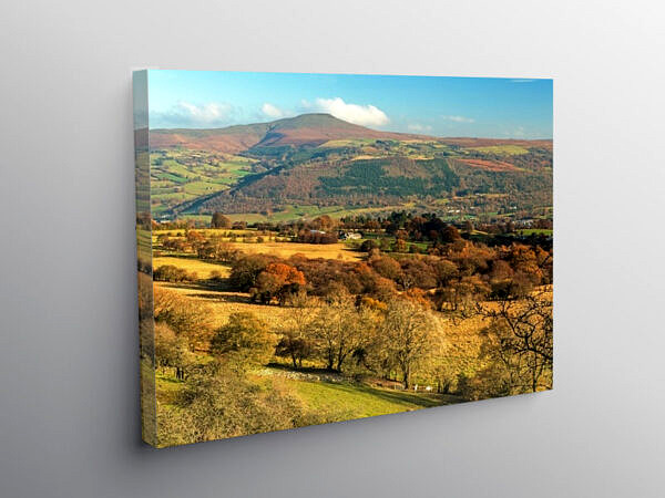 View to the Sugarloaf from Llangattock Escarpment, Canvas Print