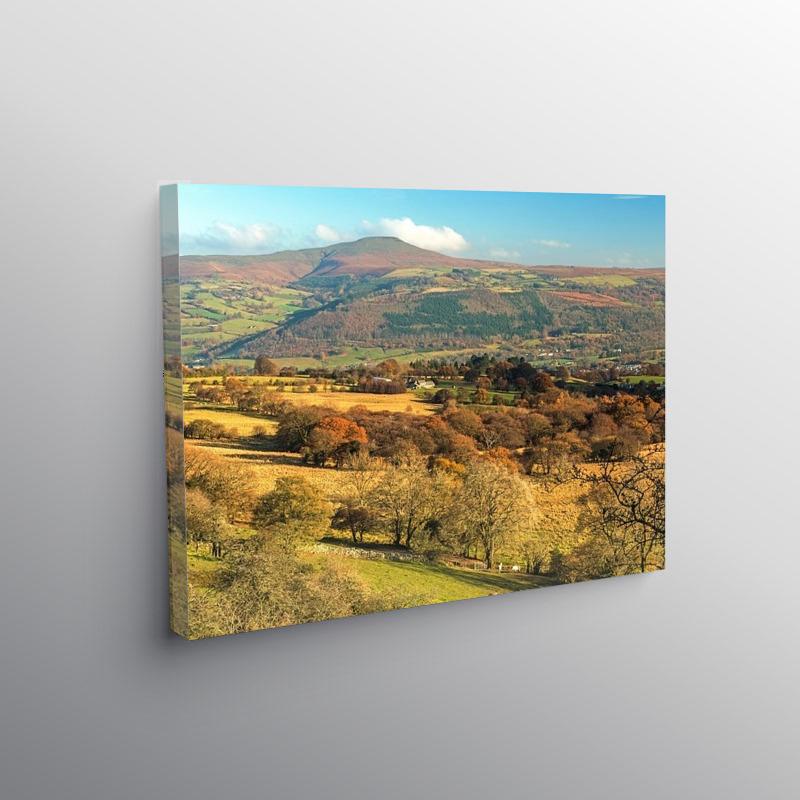 View to the Sugarloaf from Llangattock Escarpment, Canvas Print