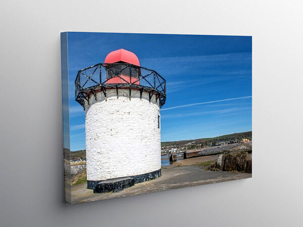Lighthouse at Burry Port Harbour Entrance, Canvas Print