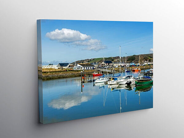 Burry Port Harbour and Marina Carmarthenshire, Canvas Print