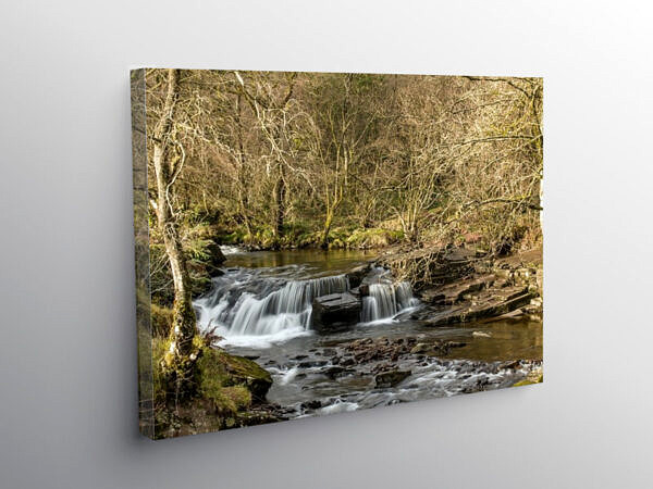 Waterfall at Pont Cwm y Fedwen Brecon Beacons, Canvas Print