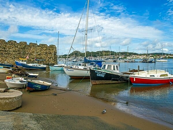 The River Conwy at Conwy with Moored Boats