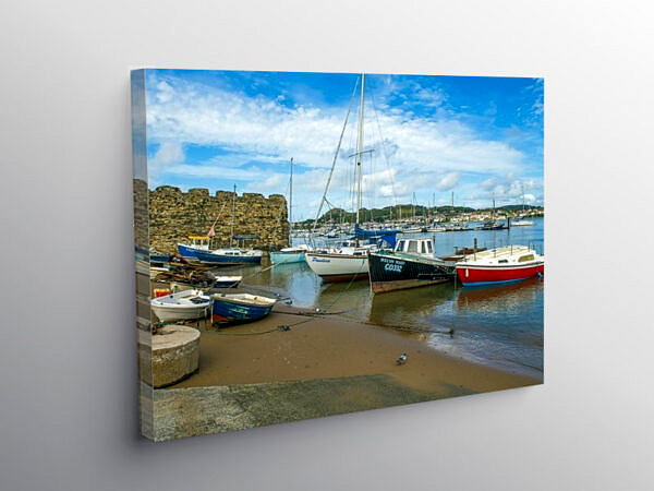 The River Conwy at Conwy with Moored Boats North Wales, Canvas Print