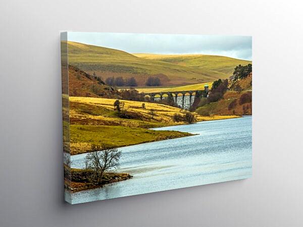 Pen y garreg Reservoir and Craig Goch Dam Elan Valley, Canvas Print