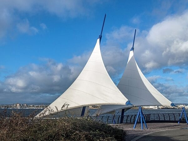 The Sails on the Cardiff Bay barrage