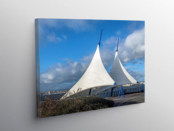 The Sails on the Cardiff Bay barrage, Canvas Print