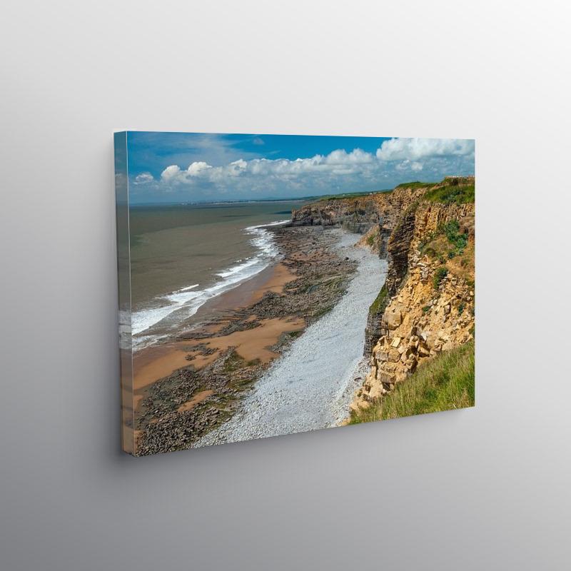 Cliffs between Nash Point and Cwm Nash Glamorgan Coast, Canvas Print