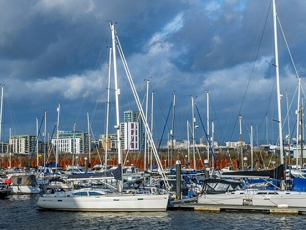 Marina at the mouth of the River Ely Cardiff