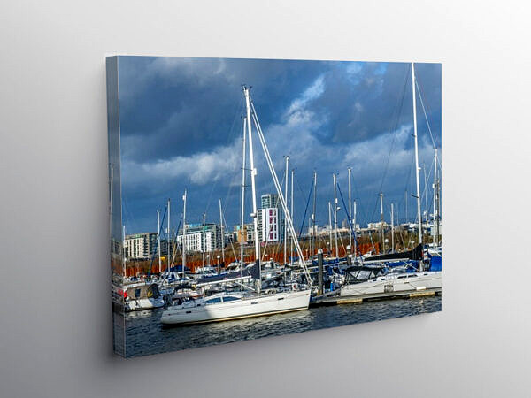 Marina at the mouth of the River Ely Cardiff, Canvas Print