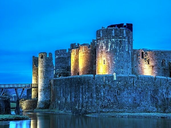 Caerphilly Castle Floodlit at Night