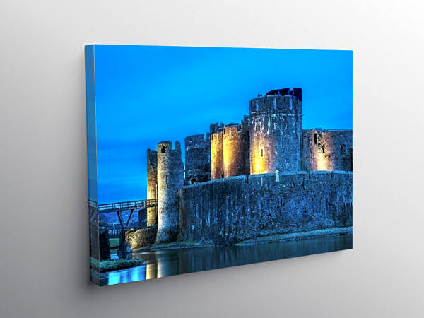 Caerphilly Castle Floodlit at Night South Wales, Canvas Print
