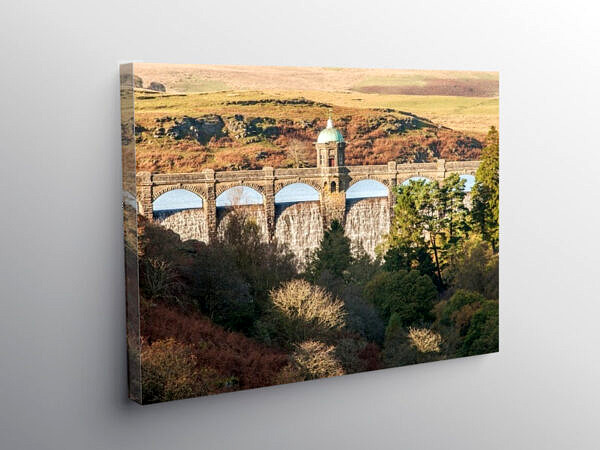 Craig Goch Dam at the last of the Elan Valley Reservoirs, Canvas Print