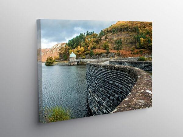 Garreg Ddu Reservoir and Dam Elan Valley Mid Wales, Canvas Print
