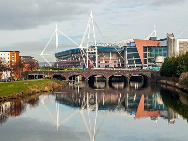 The River Taff and Principality Stadium Cardiff