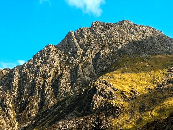 Tryfan in profile above the Ogwen Valley
