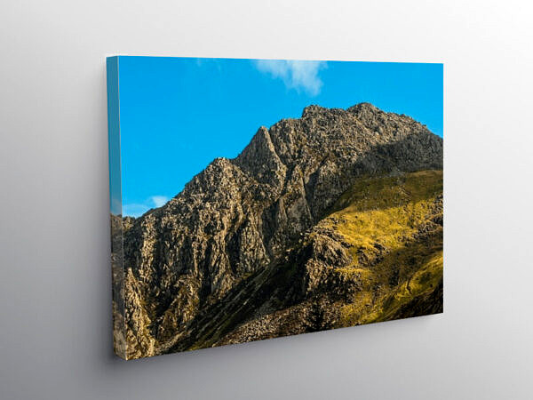 Tryfan in profile above the Ogwen Valley Snowdonia, Canvas Print