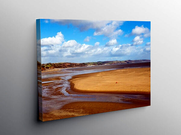 Saundersfoot Beach on the south Pembrokeshire Coastline, Canvas Print
