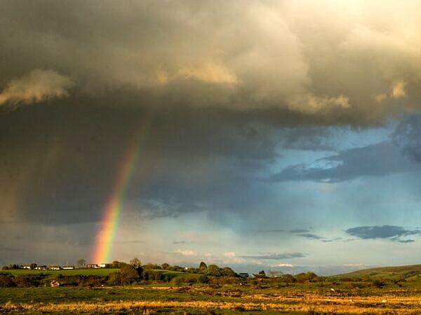 Rainclouds and Rainbow Llantrisant Common