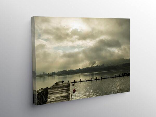 Llangorse Lake Brecon Beacons Wintertime, Canvas Print