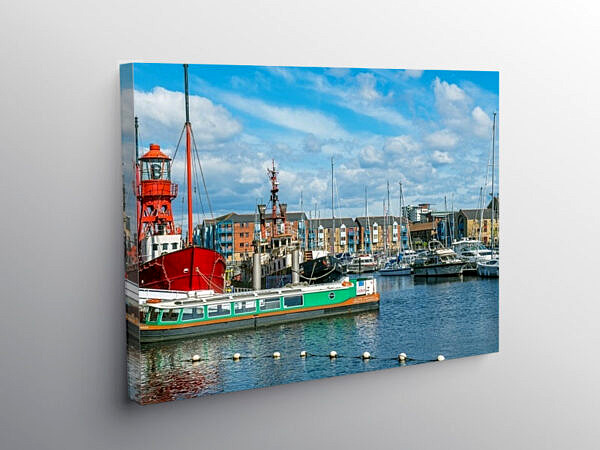 Swansea Marina South Wales Coast, Canvas Print