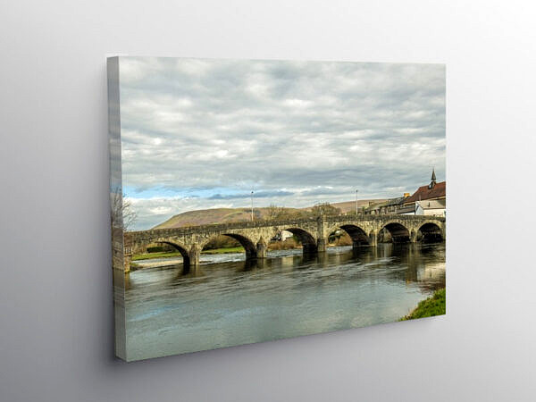 The Wye Bridge at Builth Wells in Brecknockshire Powys, Canvas Print
